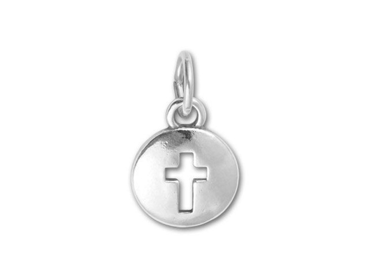 Sterling Silver Domed Cross Cutout Charm