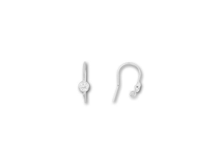 Sterling Silver Earwire with Faceted Cubic Zirconia (Pair)