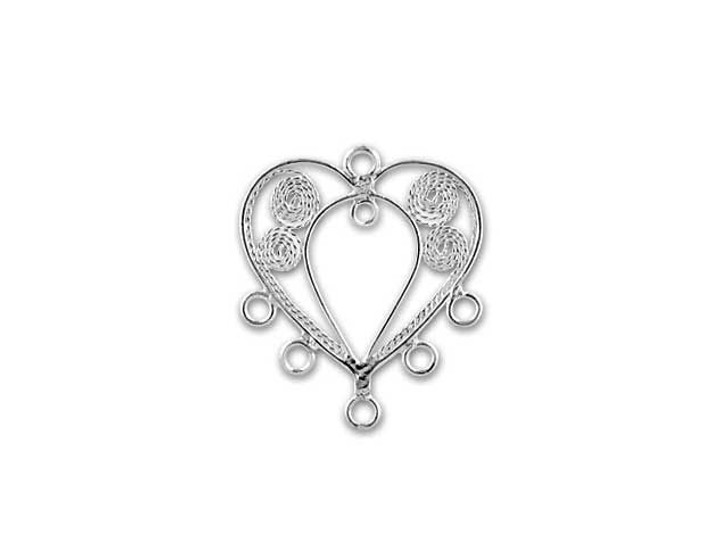 Sterling Silver Filigree Chandelier Heart with 6 Rings