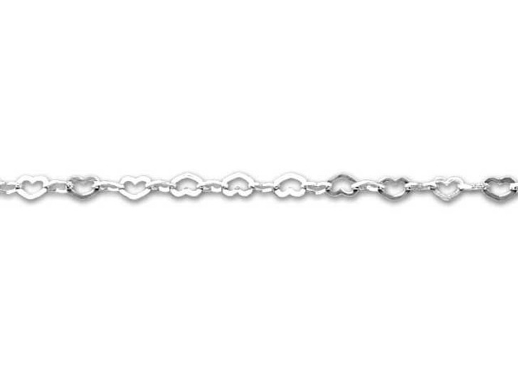 Sterling Silver Flat Heart Chain by the Foot