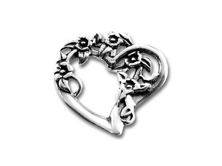 Sterling Silver Flowery Heart Charm