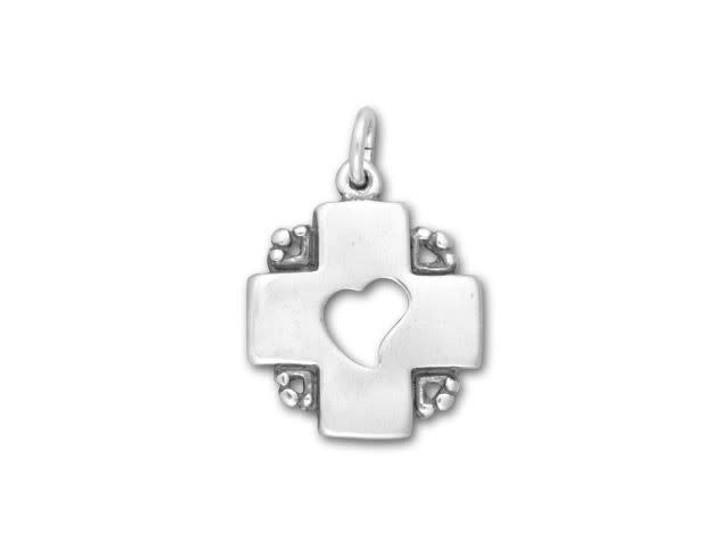 Sterling Silver Heart in Cross Charm