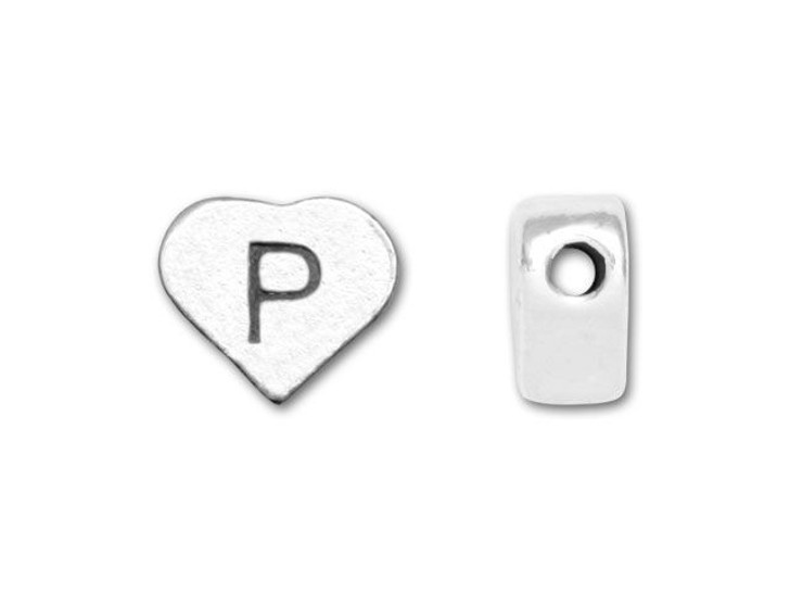 Sterling Silver Heart Letter Bead - P