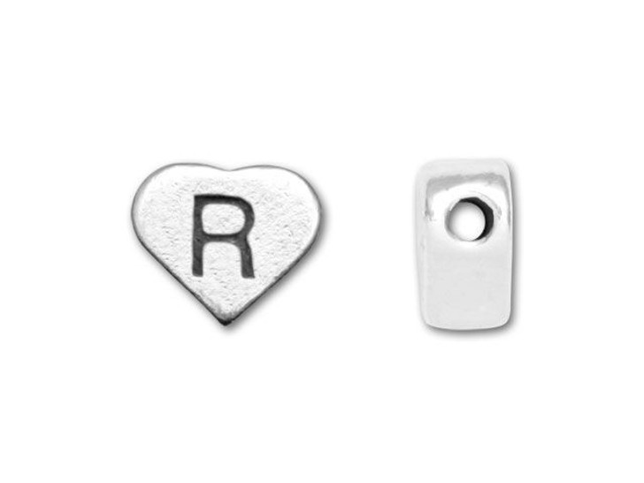 Sterling Silver Heart Letter Bead - R