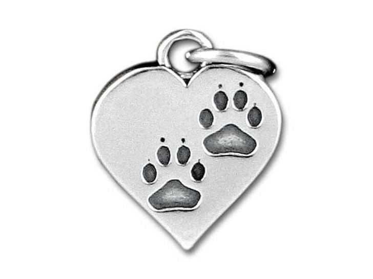 Sterling Silver Heart With Paws Charm