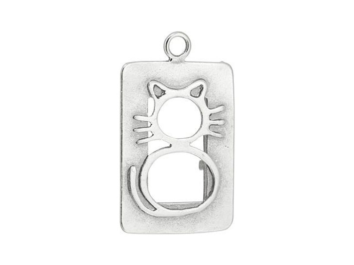 Sterling Silver Large Rectangle Cat Cut-Out Charm
