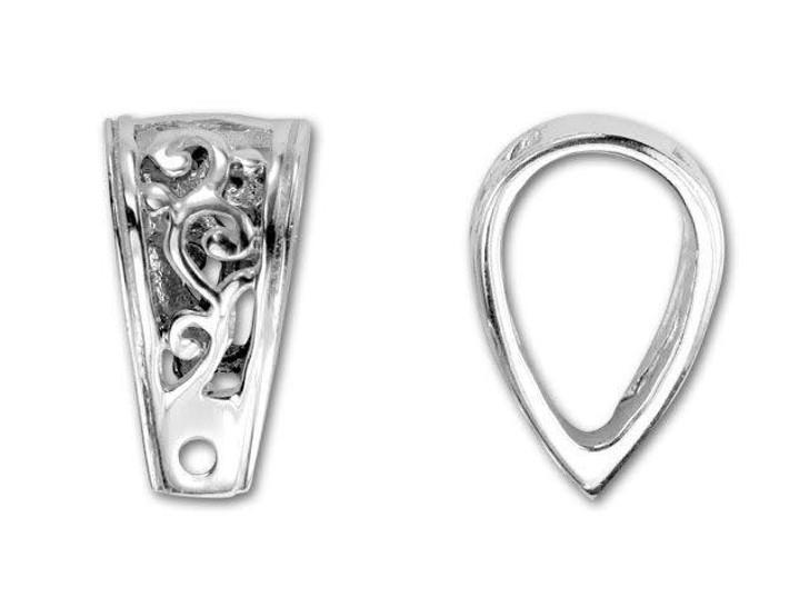 Sterling Silver Large Shiny Ornate Bail
