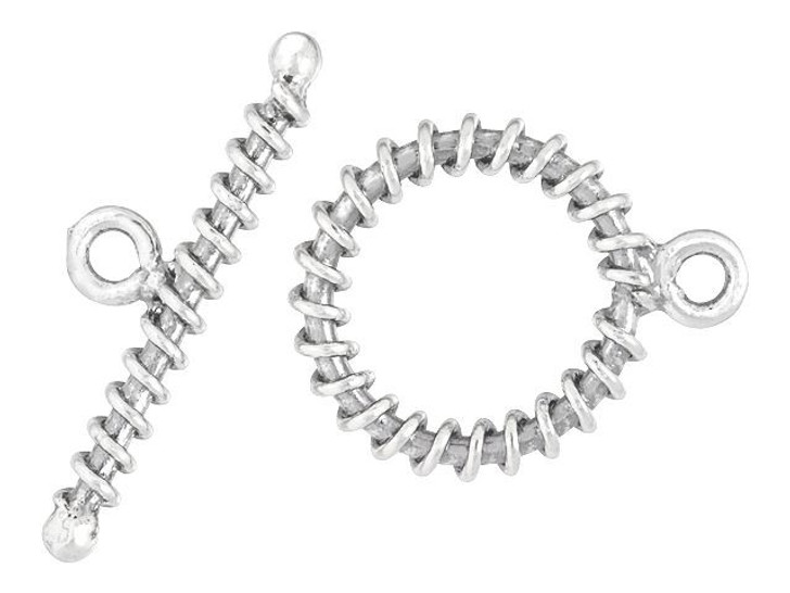 Sterling Silver Large Wrapped Toggle Clasp Set