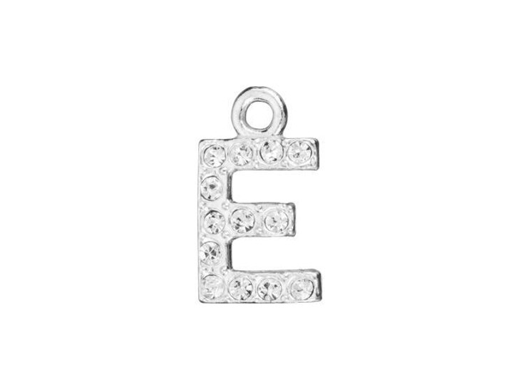Sterling Silver Letter E Pendant with Ring (7mm)