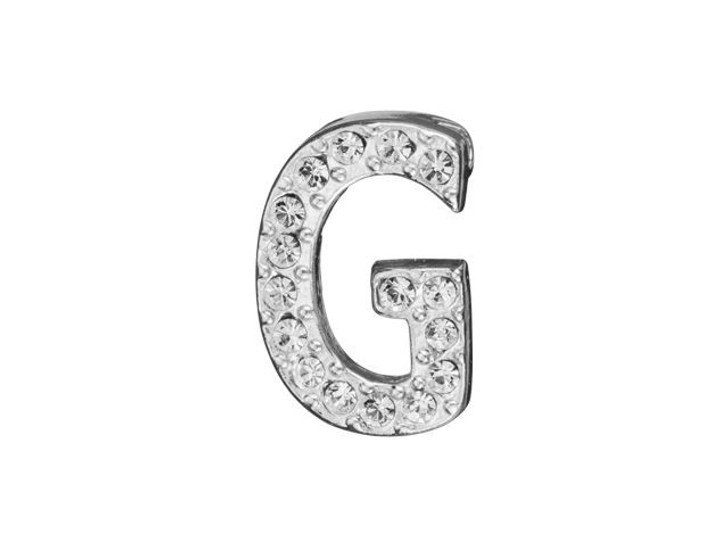 Sterling Silver Letter G Pendant with Tube Bail (12.5mm)