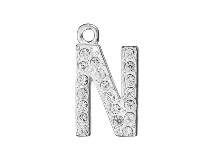 Sterling Silver Letter N Pendant with Ring (12.5mm)