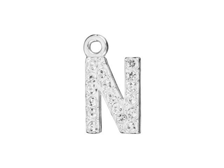 Sterling Silver Letter N Pendant with Ring (7mm)
