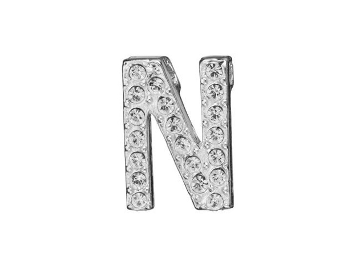 Sterling Silver Letter N Pendant with Tube Bail (12.5mm)