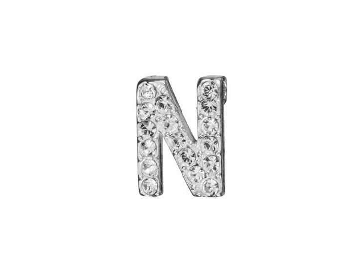 Sterling Silver Letter N Pendant with Tube Bail (7mm)
