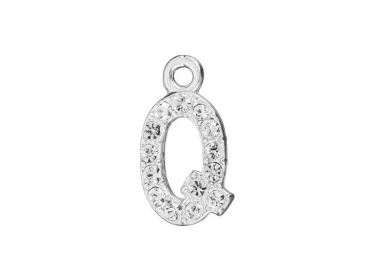 Sterling Silver Letter Q Pendant with Ring (7mm)