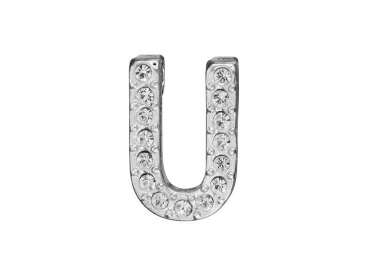 Sterling Silver Letter U Pendant with Tube Bail (12.5mm)
