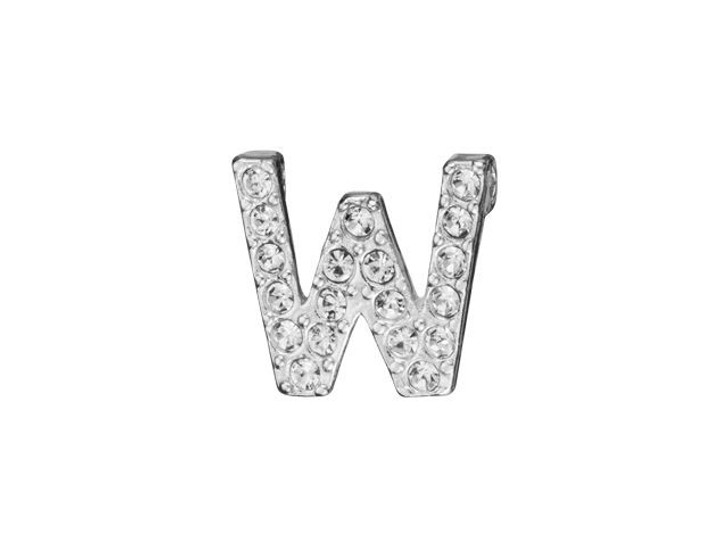 Sterling Silver Letter W Pendant with Tube Bail (7mm)