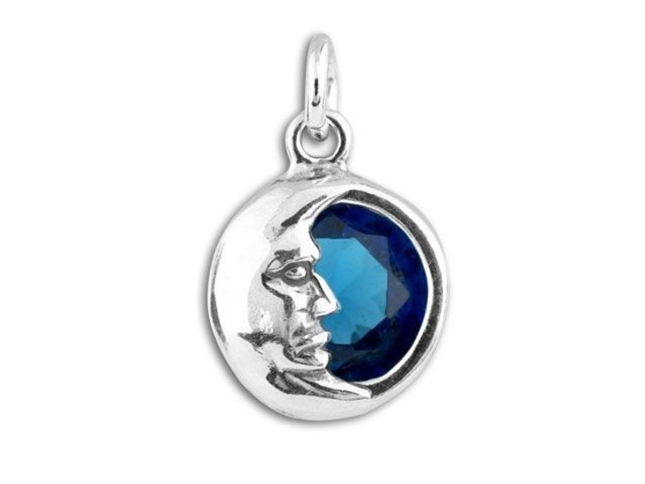 Sterling Silver Moon with Sapphire CZ Charm