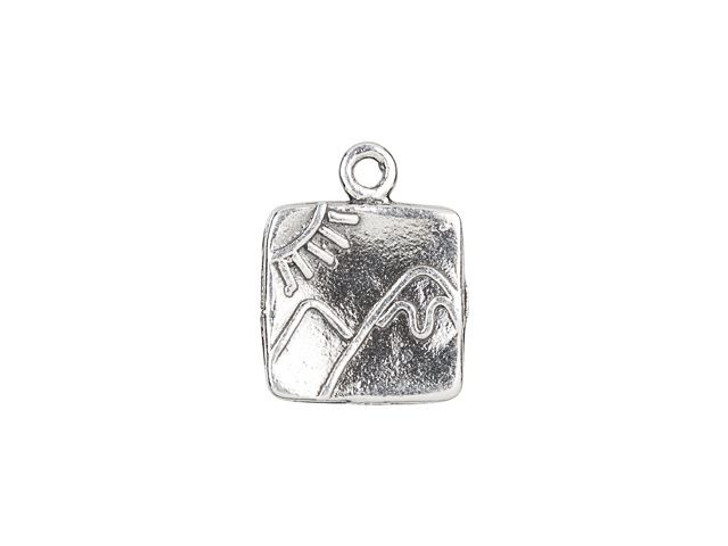 Sterling Silver Mountain and Sun Square Charm