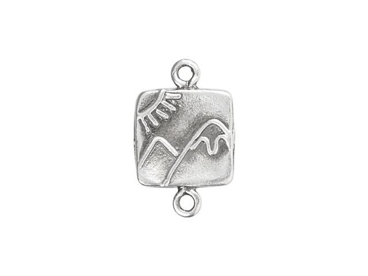 Sterling Silver Mountain and Sun Square Link