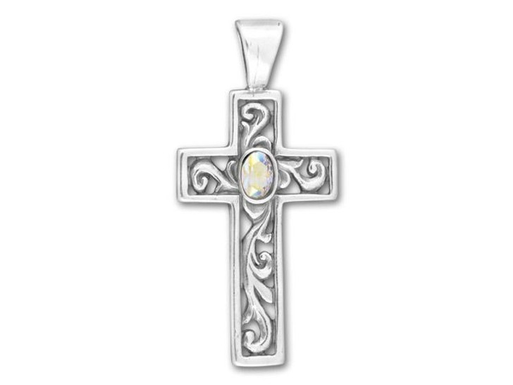 Sterling Silver Ornate Cross with Crystal AB Center Charm