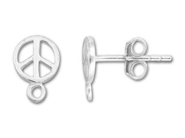 Sterling Silver Peace Sign Post Earring (Pair)