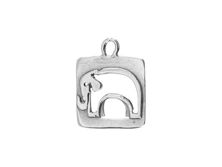 Sterling Silver Rectangle Elephant Charm