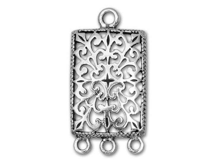 Sterling Silver Rectangle Filigree 3-Ring Chandelier
