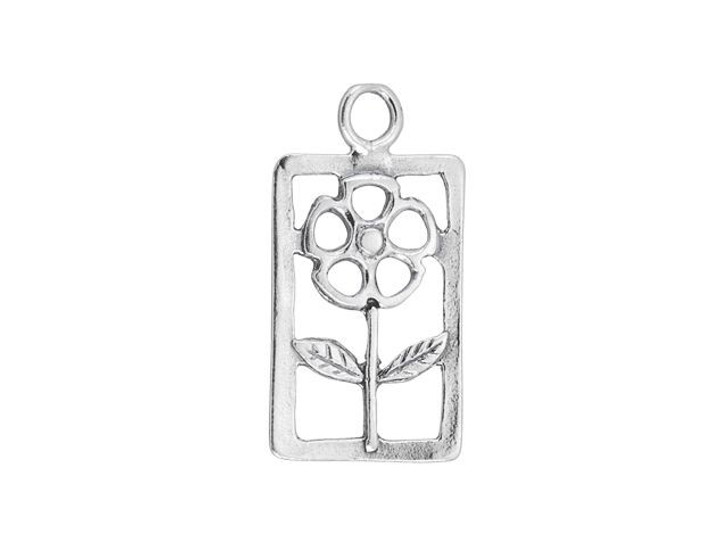 Sterling Silver Rectangle Flower Charm