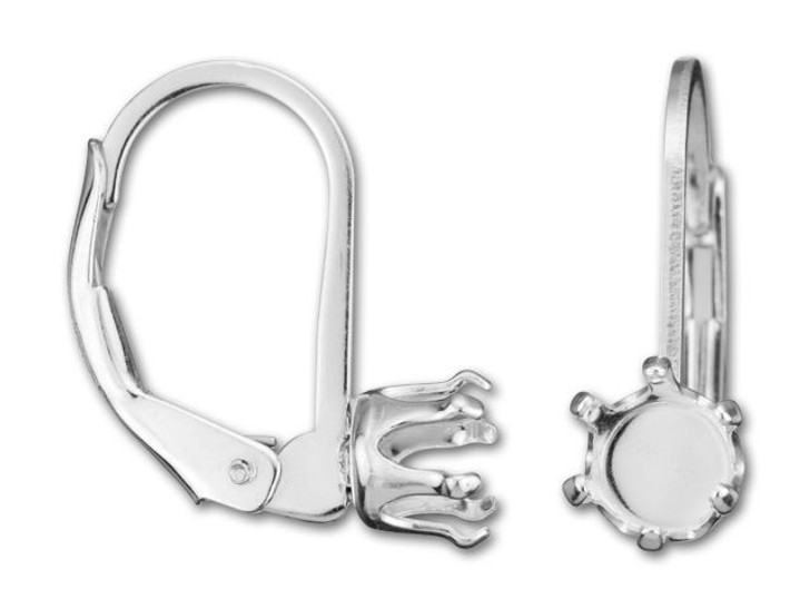 Sterling Silver Round 6 Prong 5mm Snap Setting Leverback (Pair)