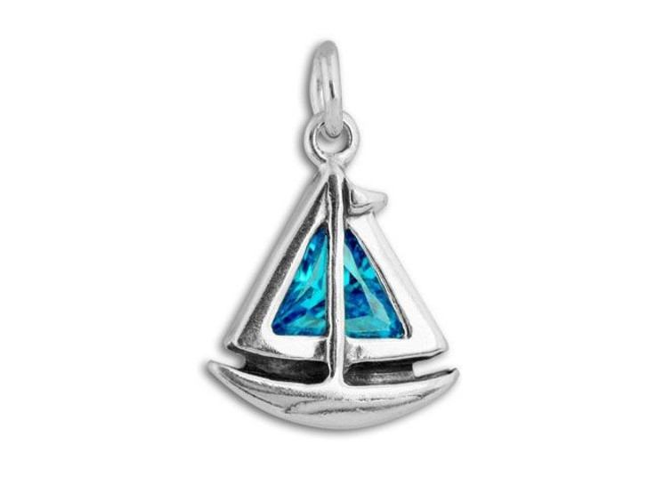 Sterling Silver Sail Boat with Aqua CZ Charm