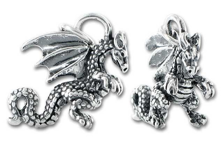 Sterling Silver Small Dragon Charm
