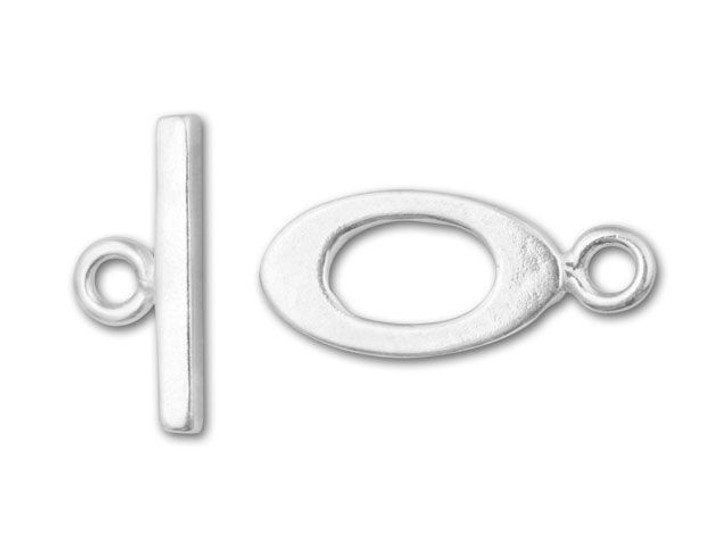 Sterling Silver Small Flat Oval Toggle Clasp