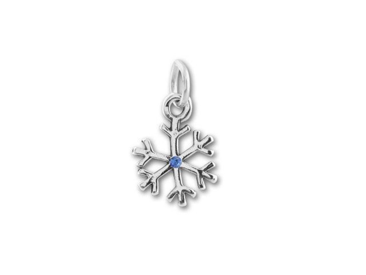 Sterling Silver Snowflake with Blue Crystal Charm