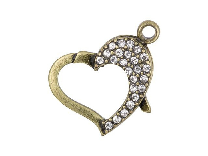 22 x 19mm Antique Brass-Plated Pave Crystal Heart Clasp