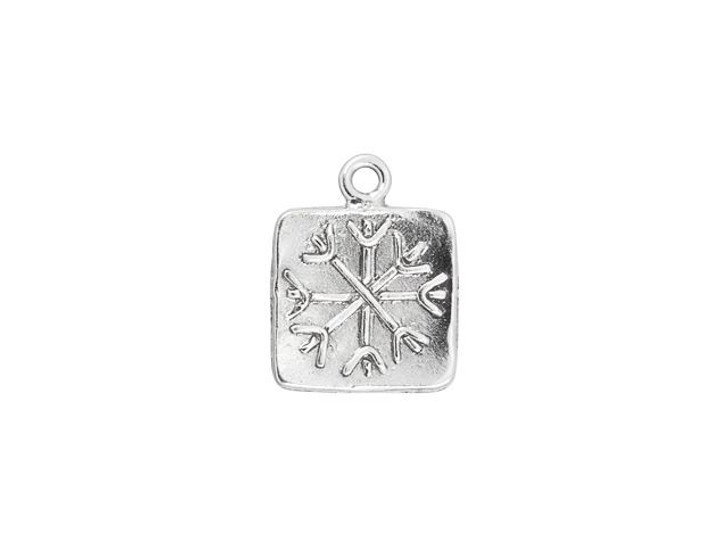 Artbeads Sterling Silver Square Snowflake Charm