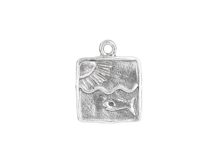 Sterling Silver Sun and Fish Square Charm