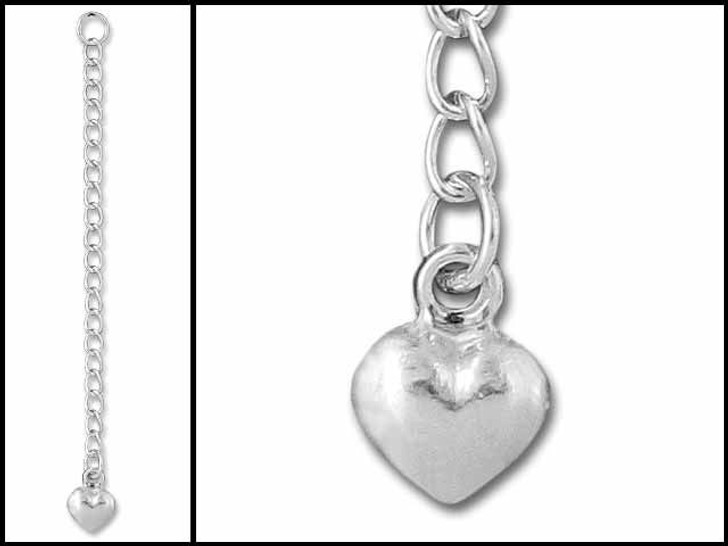 2-2.5-inch Sterling Silver Extender With Puffed Heart Bead