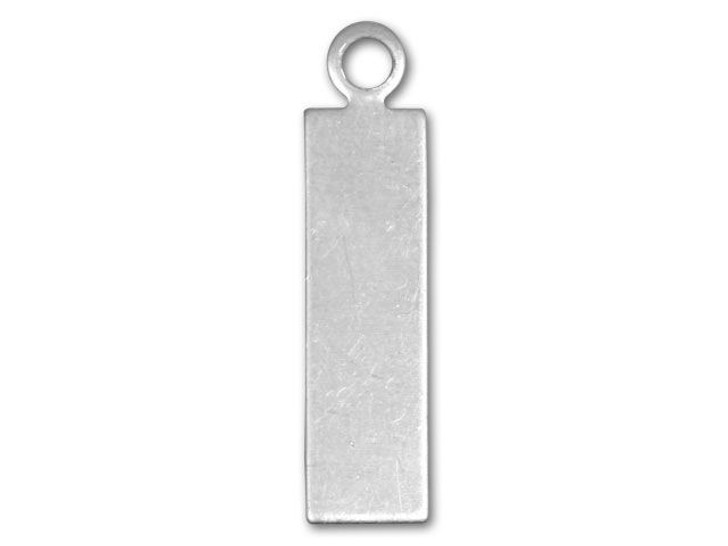 Sterling Silver Thin Rectangle Tag Charm