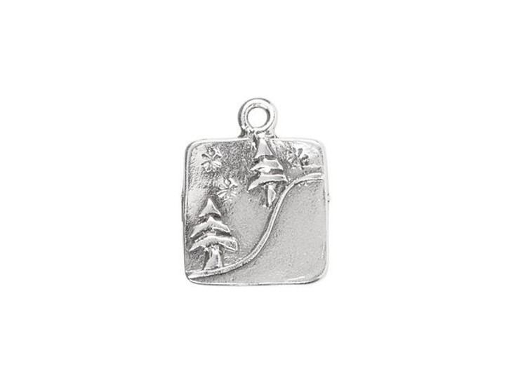 Sterling Silver Trees on a Hill Square Charm