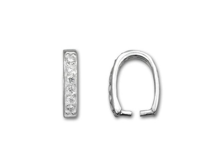 Sterling Silver U Shaped Crimp Bail with Cubic Zirconia