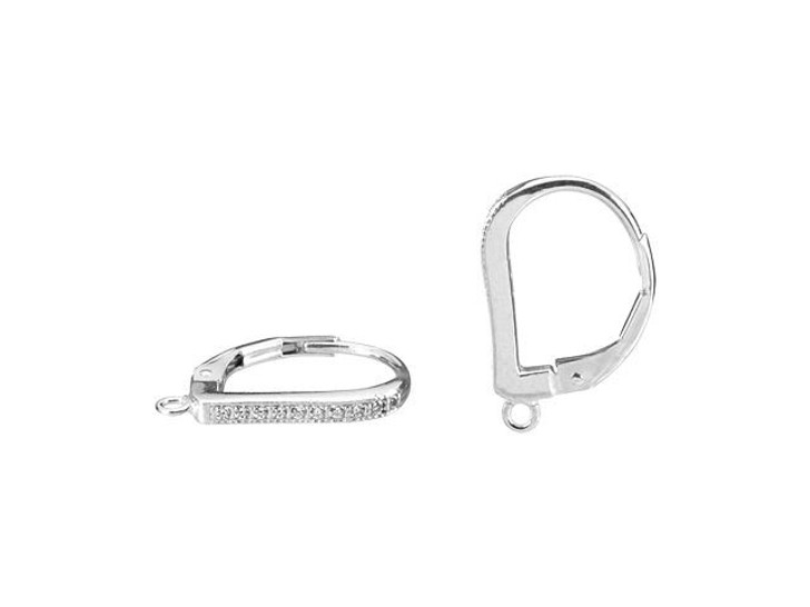 Sterling Silver White CZ Lever-Back Earring (Pair)