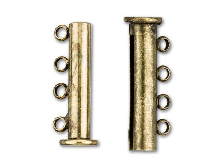 24.5x10mm Antique Brass-Plated 4 Ring Magnetic Tube Clasp