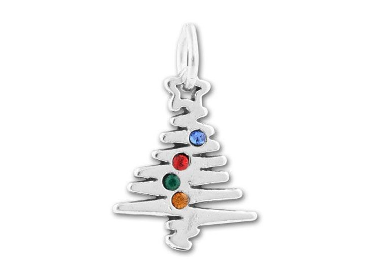 Sterling Silver X-Mas Tree with Holiday Colored Crystals Charm