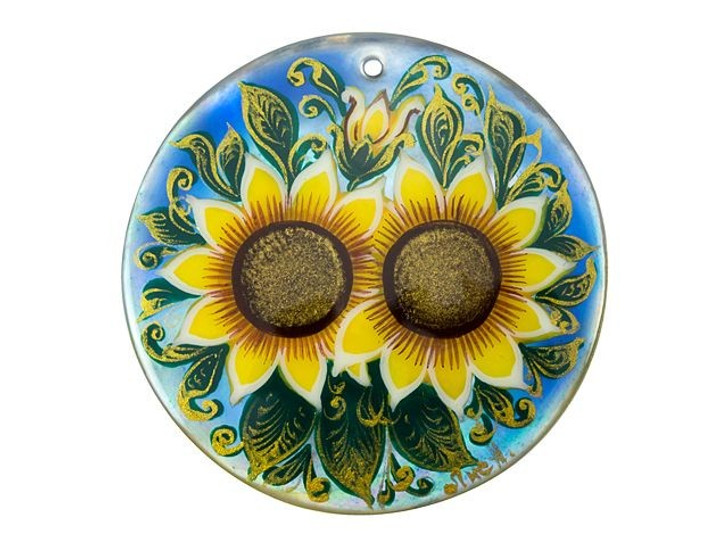 Sunflower Mother of Pearl Hand-Painted Pendant