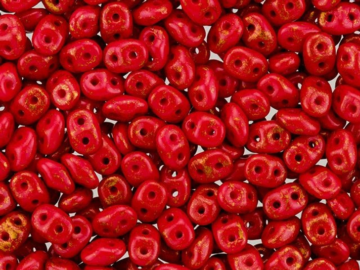 SuperDuo 2x5mm 2-Hole Gold Marbled Opaque Red Seed Bead 8g Bag
