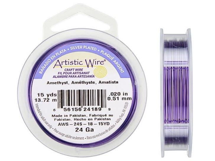 24-Gauge Amethyst Tarnish-Resistant Artistic Wire, 15-Yard Spool