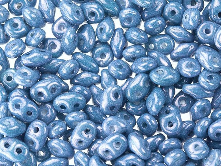 SuperDuo 2x5mm 2-Hole Opaque Blue Luster Seed Bead 8g Bag