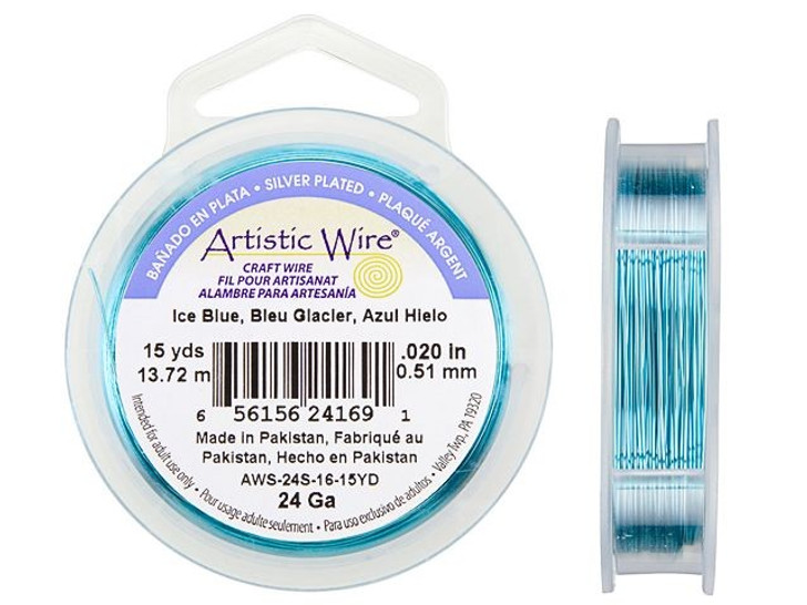 24-Gauge Ice Blue Tarnish-Resistant Artistic Wire, 15-Yard Spool