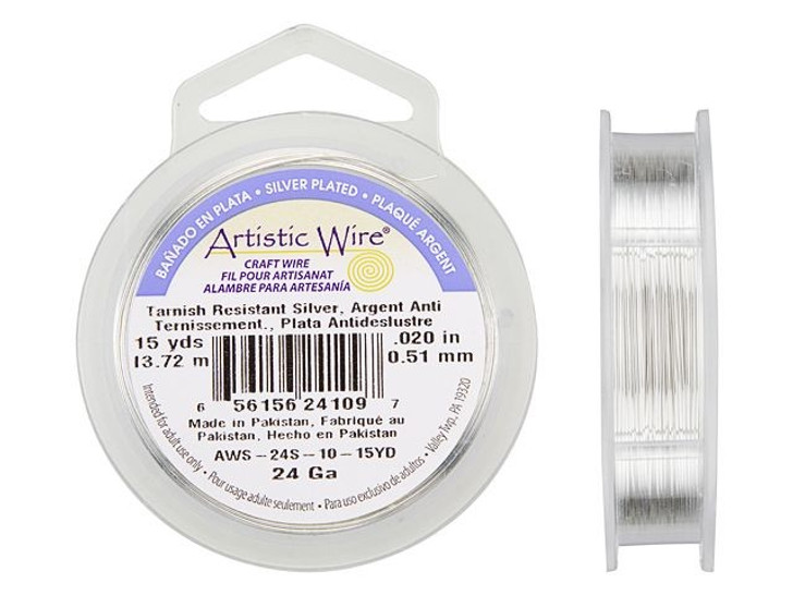 24-Gauge Silver Tarnish-Resistant Artistic Wire 15-Yard Spool